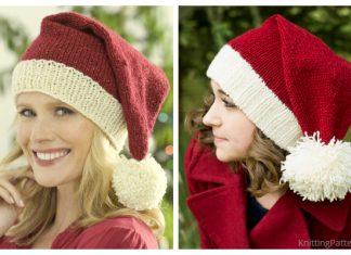 Knit Christmas Santa Hat Free Knitting Patterns
