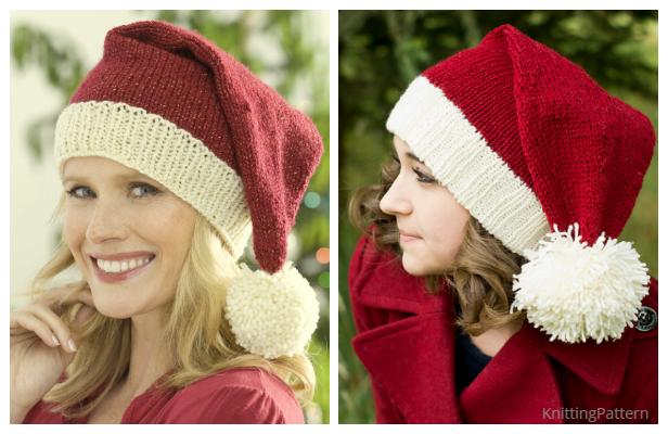 Knit Christmas Santa Hat Free Knitting Patterns - Knitting ...