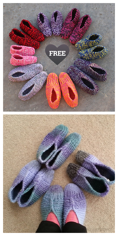 Easy Aunt Maggie's Slippers Free Knitting Patterns