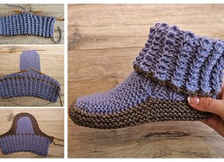 Knit Adult Ribbed Slippers Free Knitting Pattern + Video