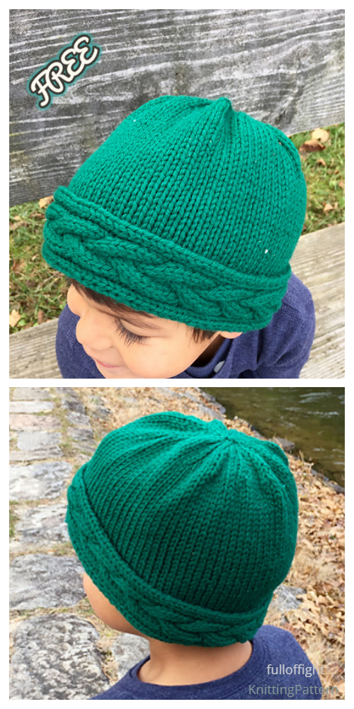 Knit Cable Band Beanie Hat Free Knitting Patterns