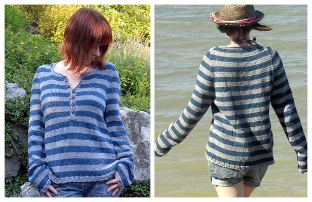 Knit Driftwood Pullover Sweater Free Knitting Pattern