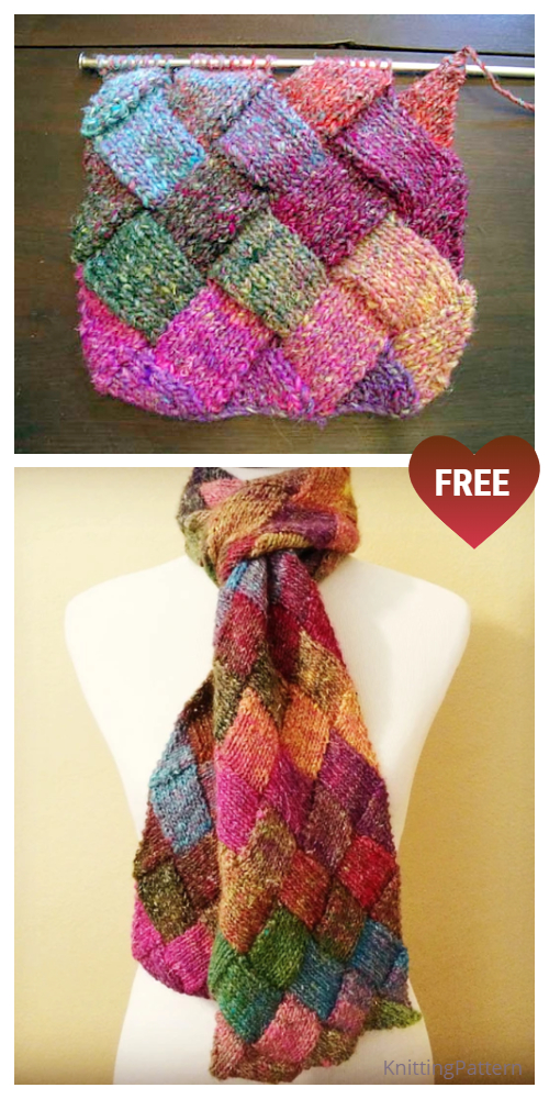 Knit Entrelac Scarf Free Knitting Pattern
