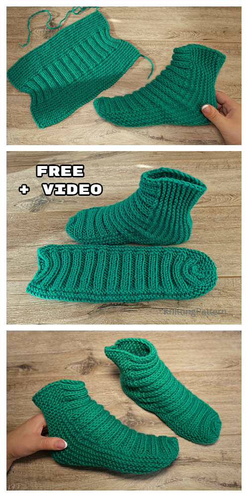 Knit One-Piece Stretchy Slippers Free Knitting Pattern + Video