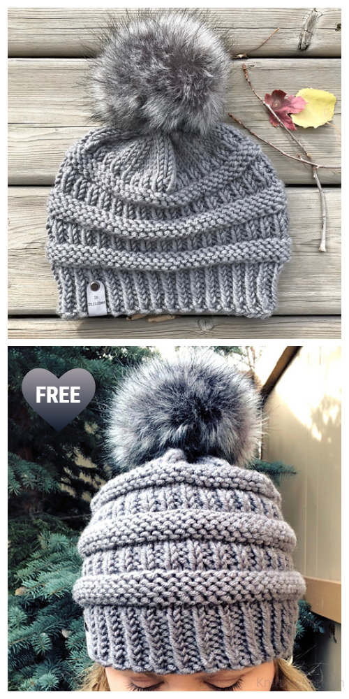 Knit Ribbed C.C Beanie Hat Free Knitting Patterns