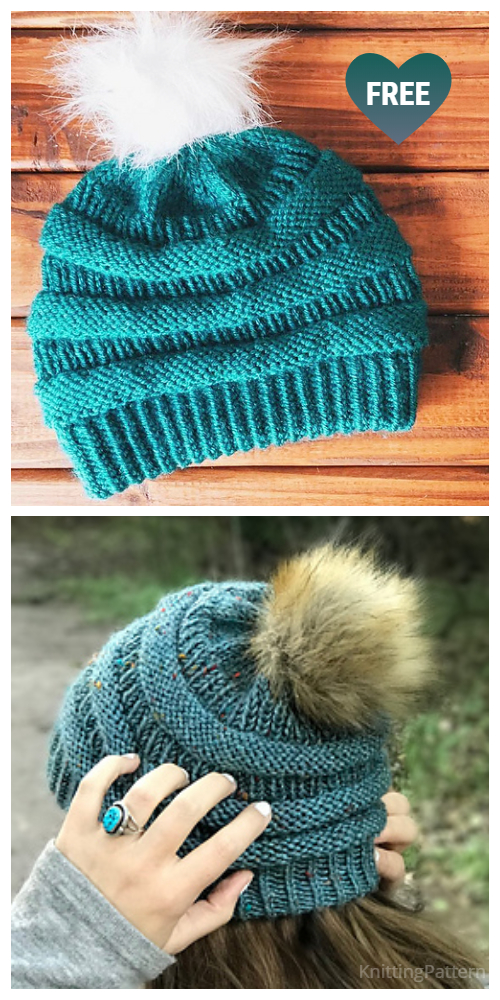 Knit Ribbed Copycat C.C Beanie Hat Free Knitting Patterns