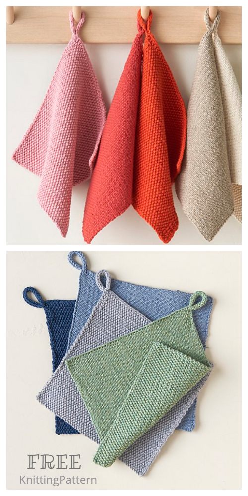 Knit Mitered Hanging Towel Free Knitting Pattern