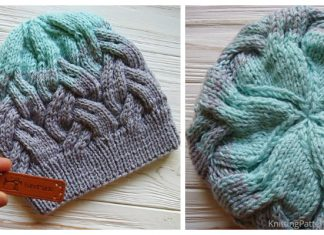 Knit Gradient Color Adult Cable Hat Free Knitting Pattern
