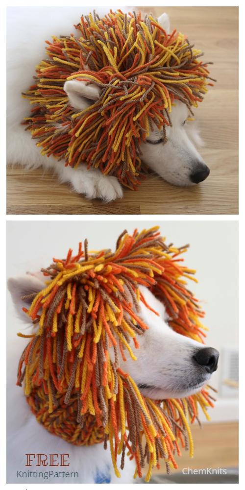 Knit Dog Lion Snood Free Knitting Patterns