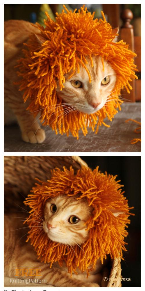 Knit Cat Mane Lion Snood Free Knitting Patterns