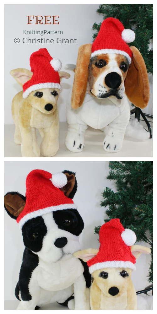 Knit Christmas Dog Santa Hat Free Knitting Patterns
