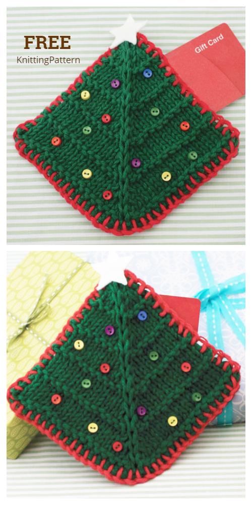 Knit Christmas Tree Gift Card Holder Free Knitting Patterns