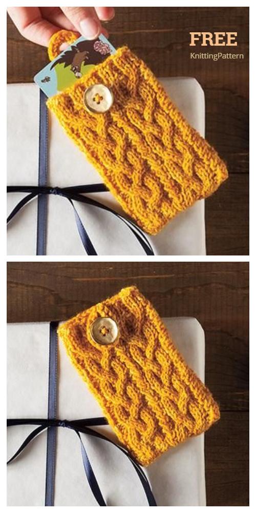 Knit Pocket Aran Gift Card Holder Free Knitting Patterns