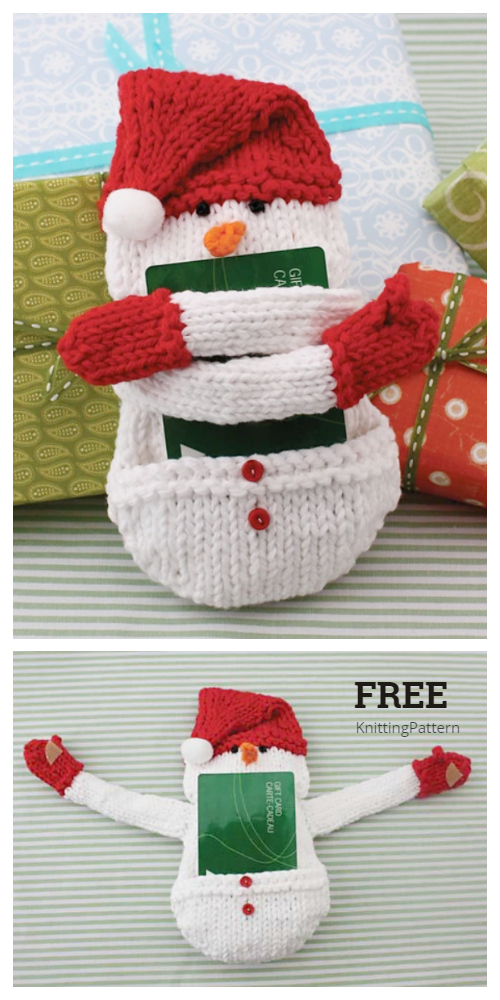 Knit Snowman Gift Card Holder Free Knitting Patterns