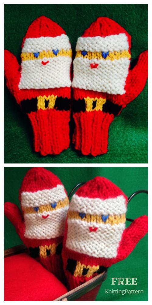 Knit Christmas Santa Mittern Free Knitting Patterns