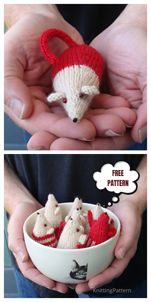 Knit Little Friend Christmas Mouse Ornament Free Knitting Patterns