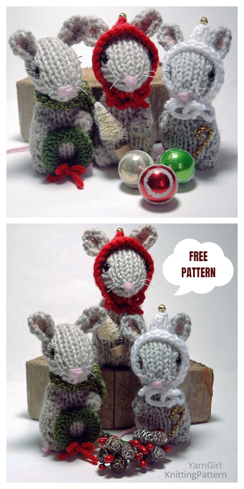Knit Holiday Mice Christmas Mouse Ornament Free Knitting Patterns