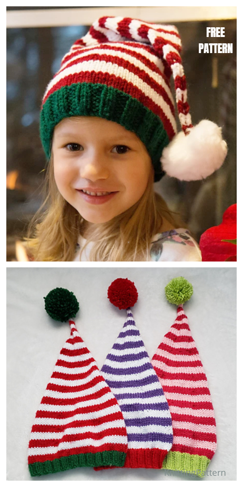 knit Christmas Santa's Helper Stocking Hat Free Knitting Patterns