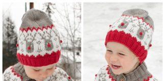 Knit Chritmas Rudolph Hat Free Knitting Pattern