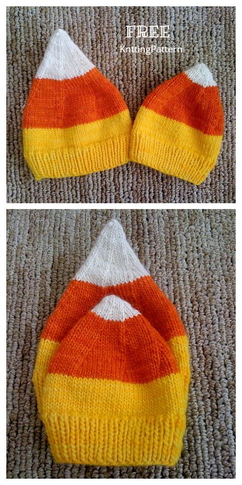 Knit Candy Corn Pixie Hat Free Knitting Pattern