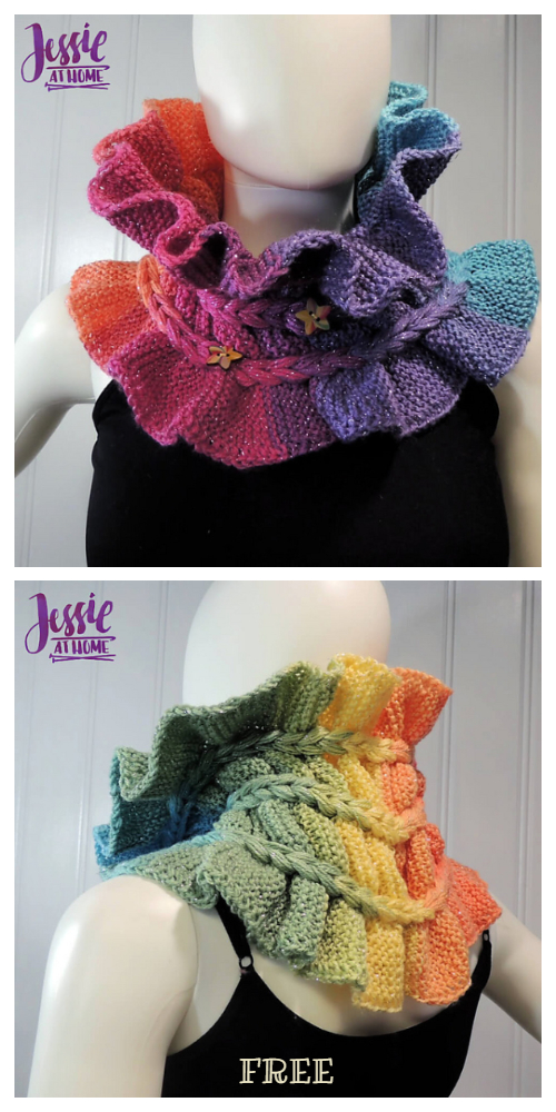 Knit Rainbow Ruffle Cowl Free Knitting Patterns