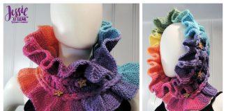Knit Rainbow Ruffle Cowl Free Knitting Patterns