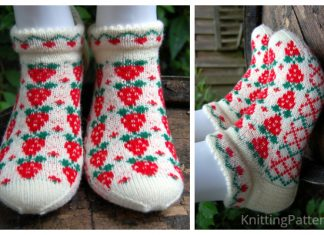Knit Strawberry Socks Free Knitting Pattern