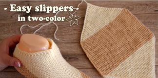 Easy Two-color Garter Stitch Slippers Free Knitting Patterns + Video