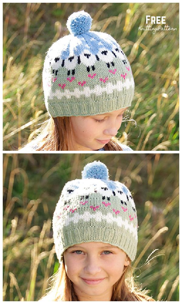 Knit Fair Isle Lamb Dance Hat Free Knitting Pattern