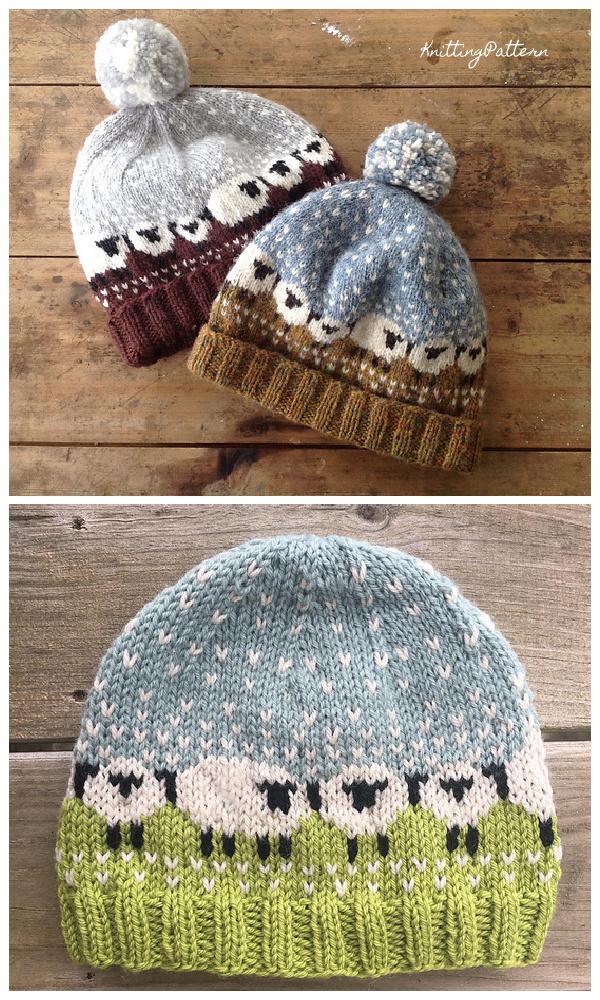 Knit Fair Isle Sheep Babble Hat Knitting Pattern