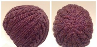 Knit Ribs in Cables Beanie Hat Free Knitting Pattern