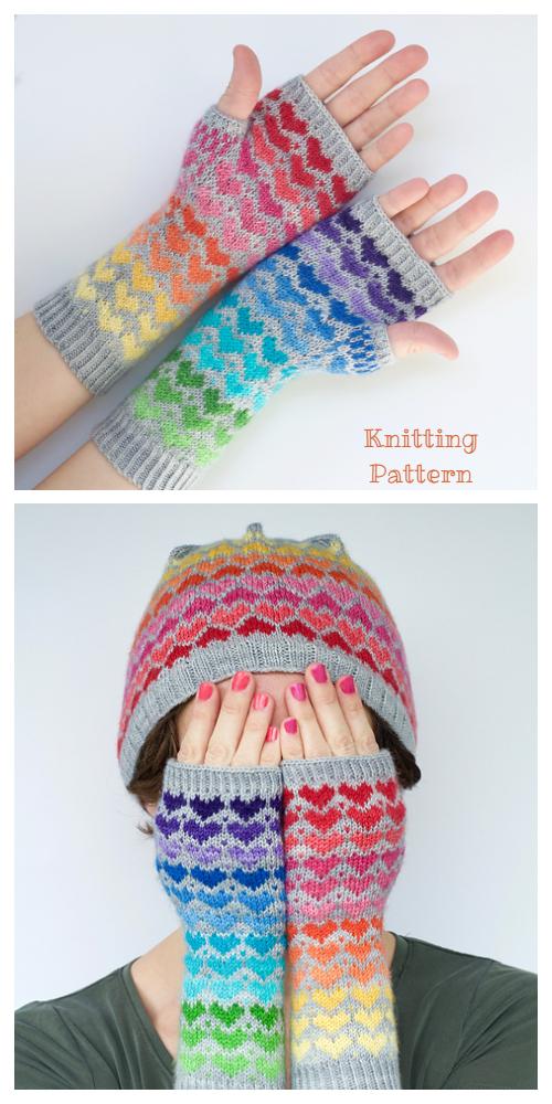 Knit My Rainbow Heart Valentine Fingerless Gloves Knitting Patterns