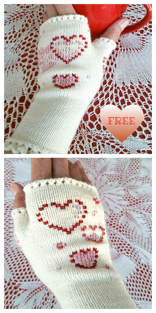 Knit Sweetheart Beaded Glovelets Fingerless Gloves Free Knitting Patterns