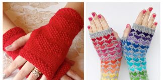 Knit Valentine Heart Fingerless Gloves Free Knitting Patterns & Paid