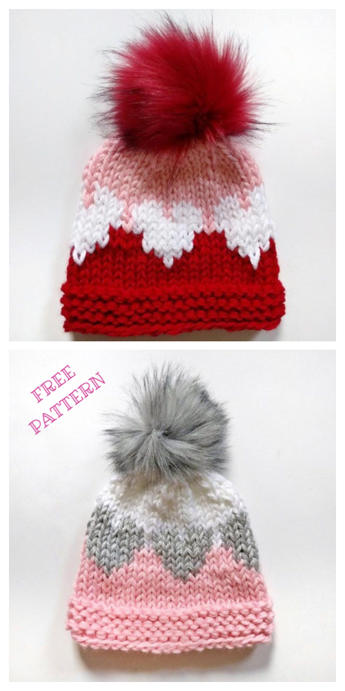 Knit Valentine Queen of Hearts Hat Free Knitting Pattern
