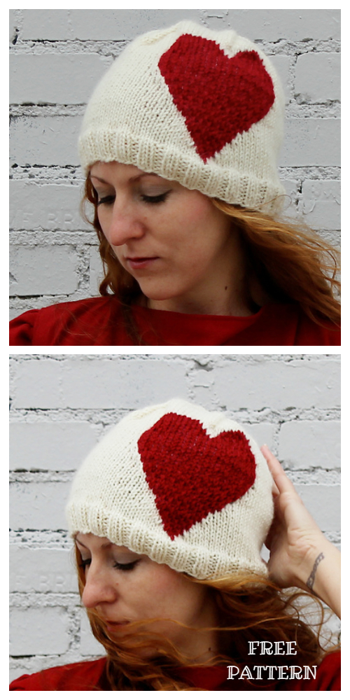 Knit Valentine Big Heart Hat Free Knitting Pattern