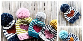 Knit Valentine Heart Hat Free Knitting Pattern & Paid