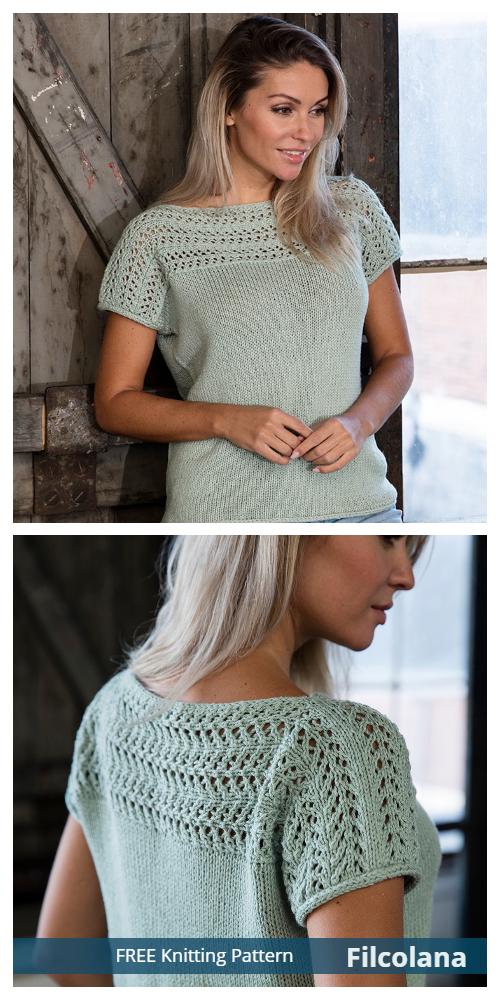 Knit Women Mojito Lace T-Shirt Top Free Knitting Patterns