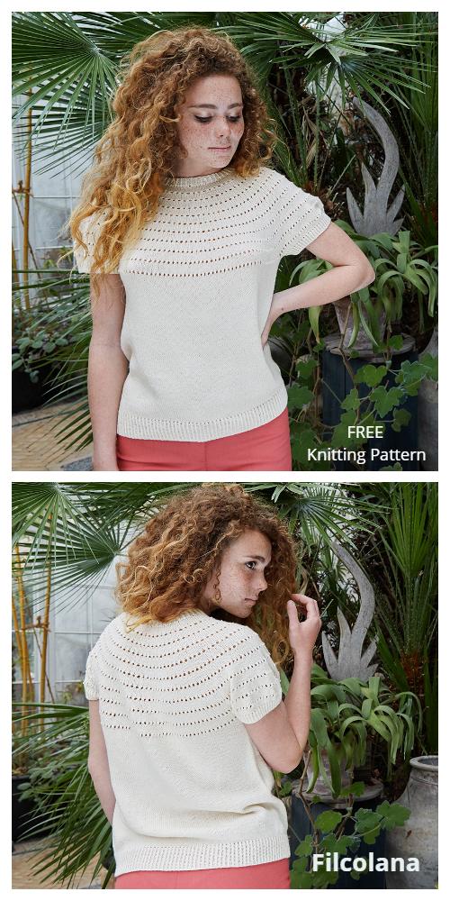 Knit Women ToldBoden Lace T-Shirt Top Free Knitting Patterns