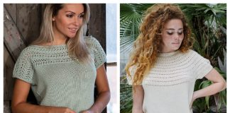 Knit Women T-Shirt Top Free Knitting Patterns