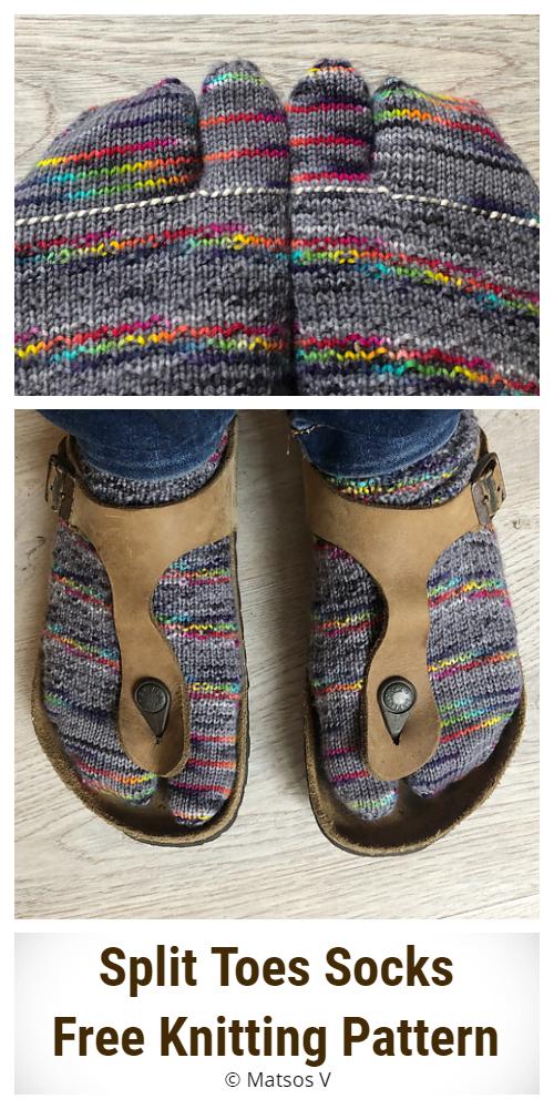 Split Toes Socks Free Knitting Pattern