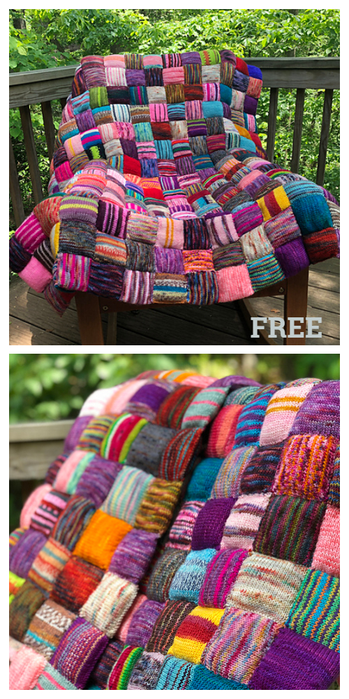 The Square Puff Beekeeper's Quilt Blanket Free Knitting Pattern