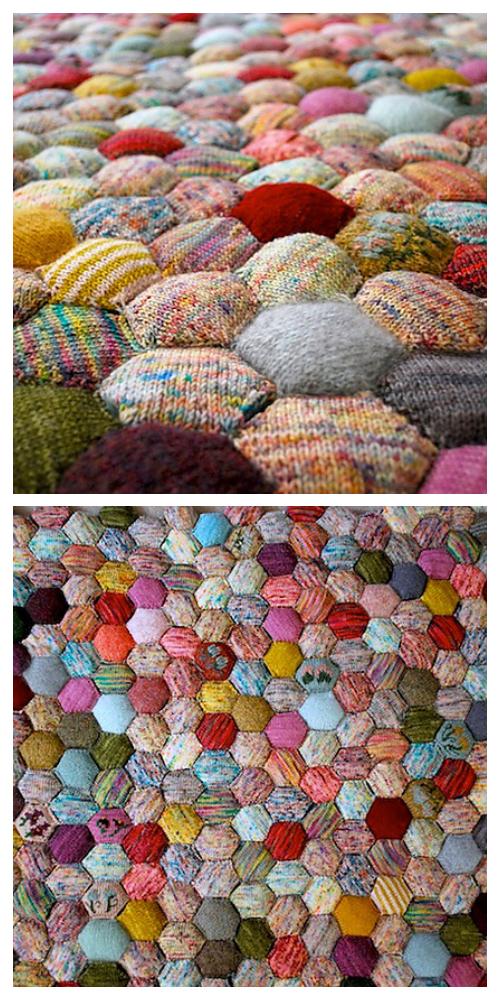 The Hexagon Puff Beekeeper's Quilt Blanke tKnitting Pattern