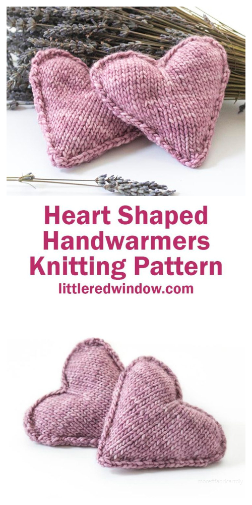 Valentine 3D Heart Shaped Handwarmers Free Knitting Patterns