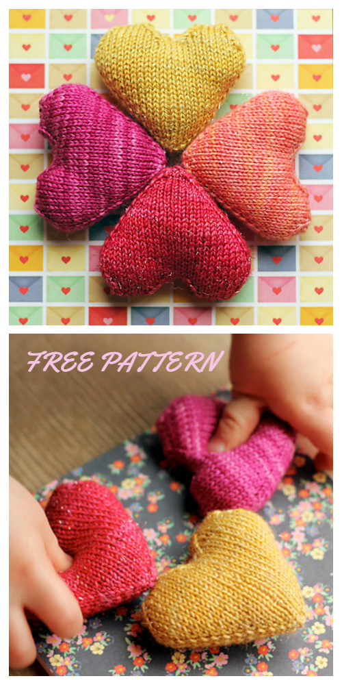 Love You Forever 3D Heart Free Knitting Patterns