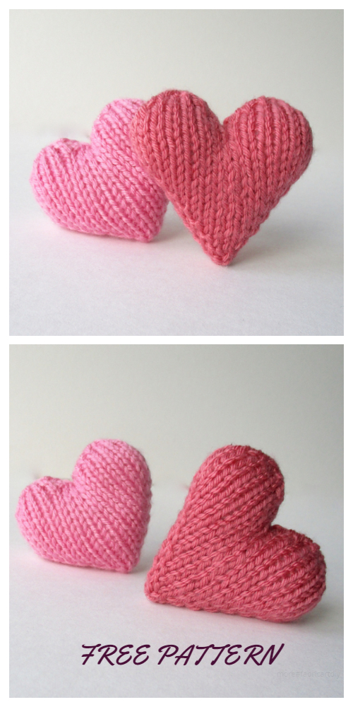 Valentine 3D Heart Free Knitting Patterns