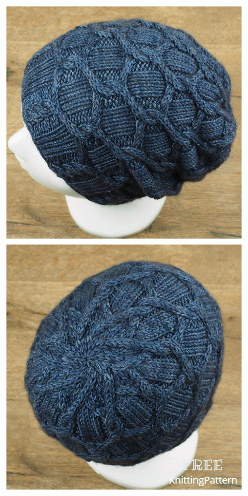 White Frost Honeycomb Hat Free Knitting Pattern