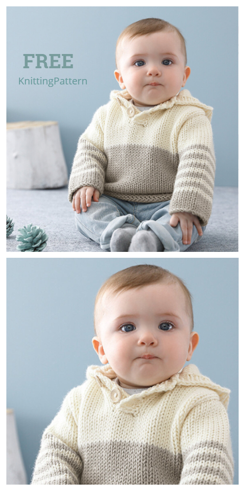 Easy Knit Baby Hooded Sweater Free Knitting Pattern