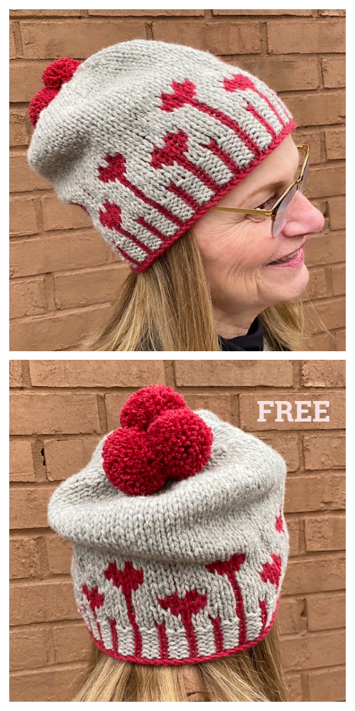 Knit Blooming Heart Hat Free Knitting Patterns