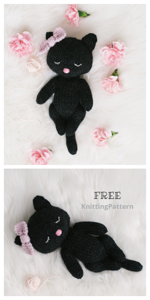 Knit Sleepy Cat Free Knitting Pattern